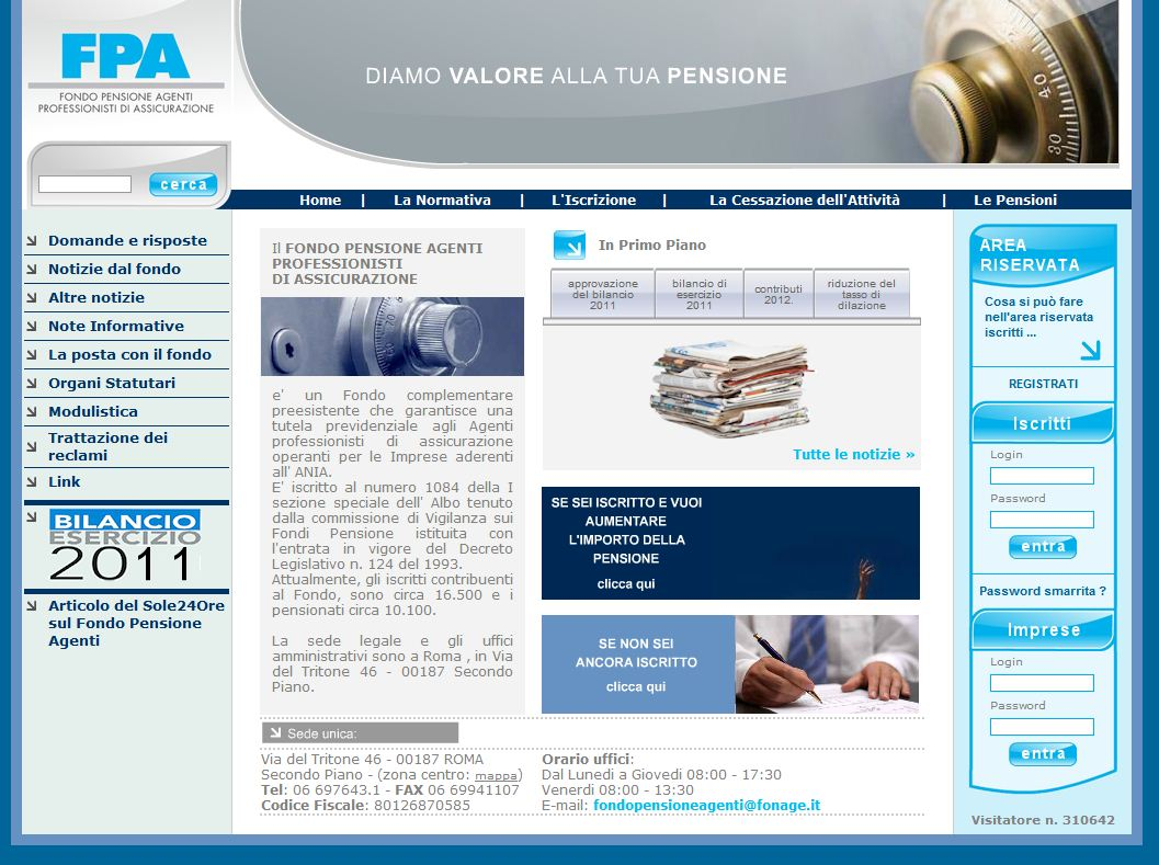 Fondo Pensione Agenti - Homepage sito web Imc