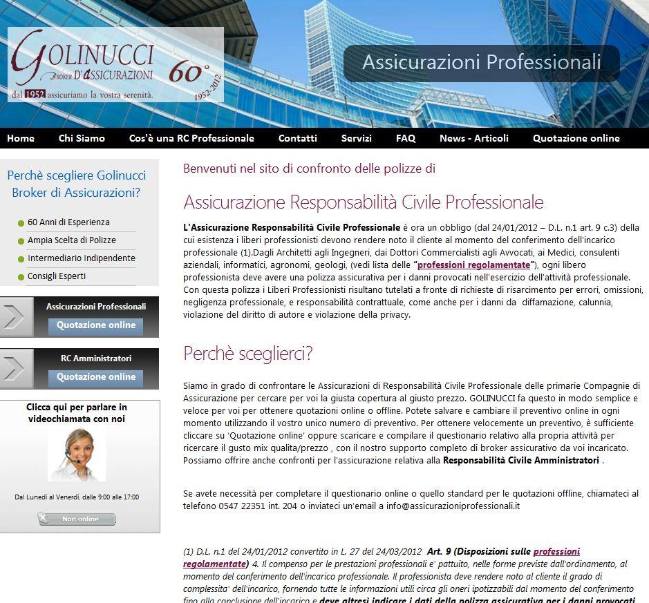 L'home page del sito www.assicurazioniprofessionali.it