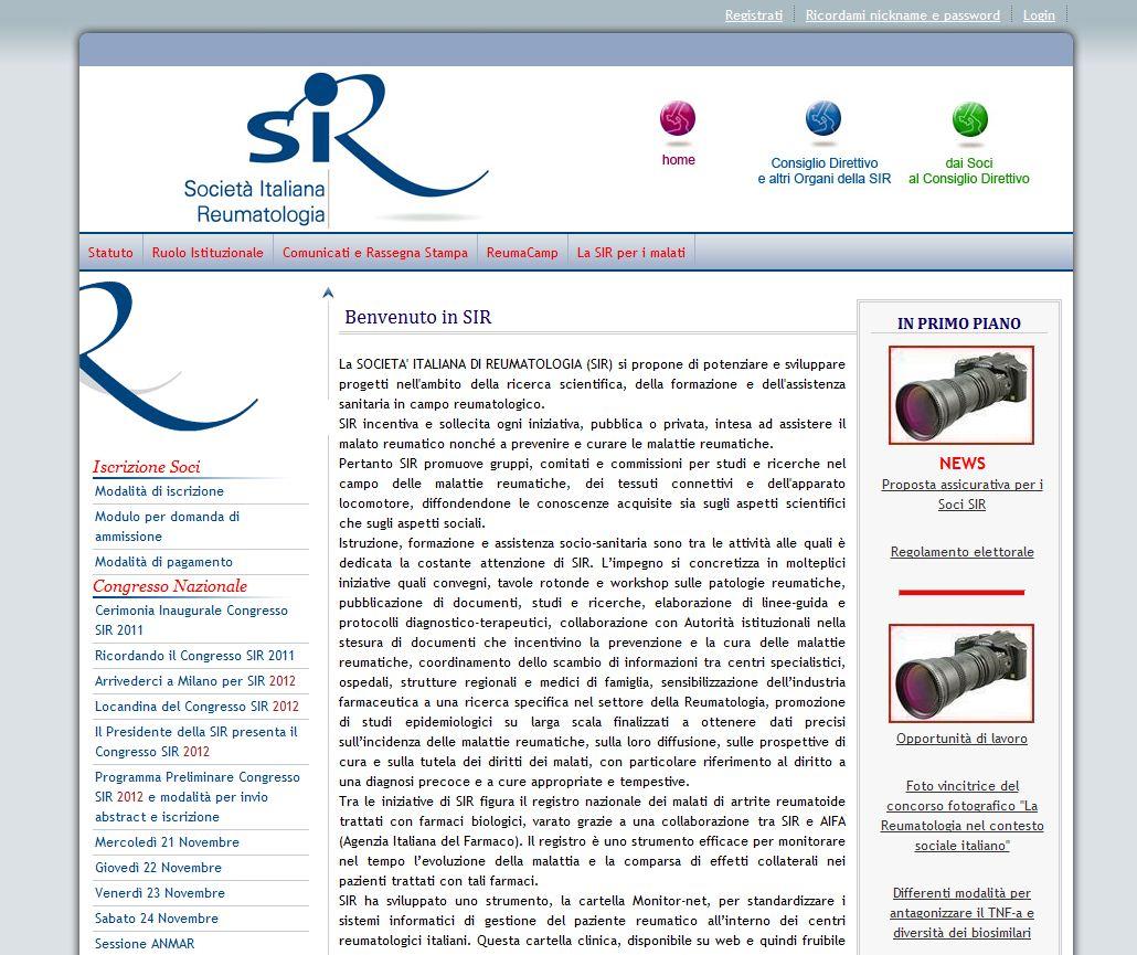 L'home page del sito Società Italiana di Reumatologia Imc
