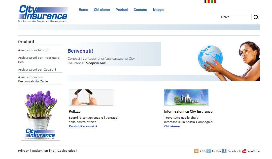 L'home page del sito della City Insurance