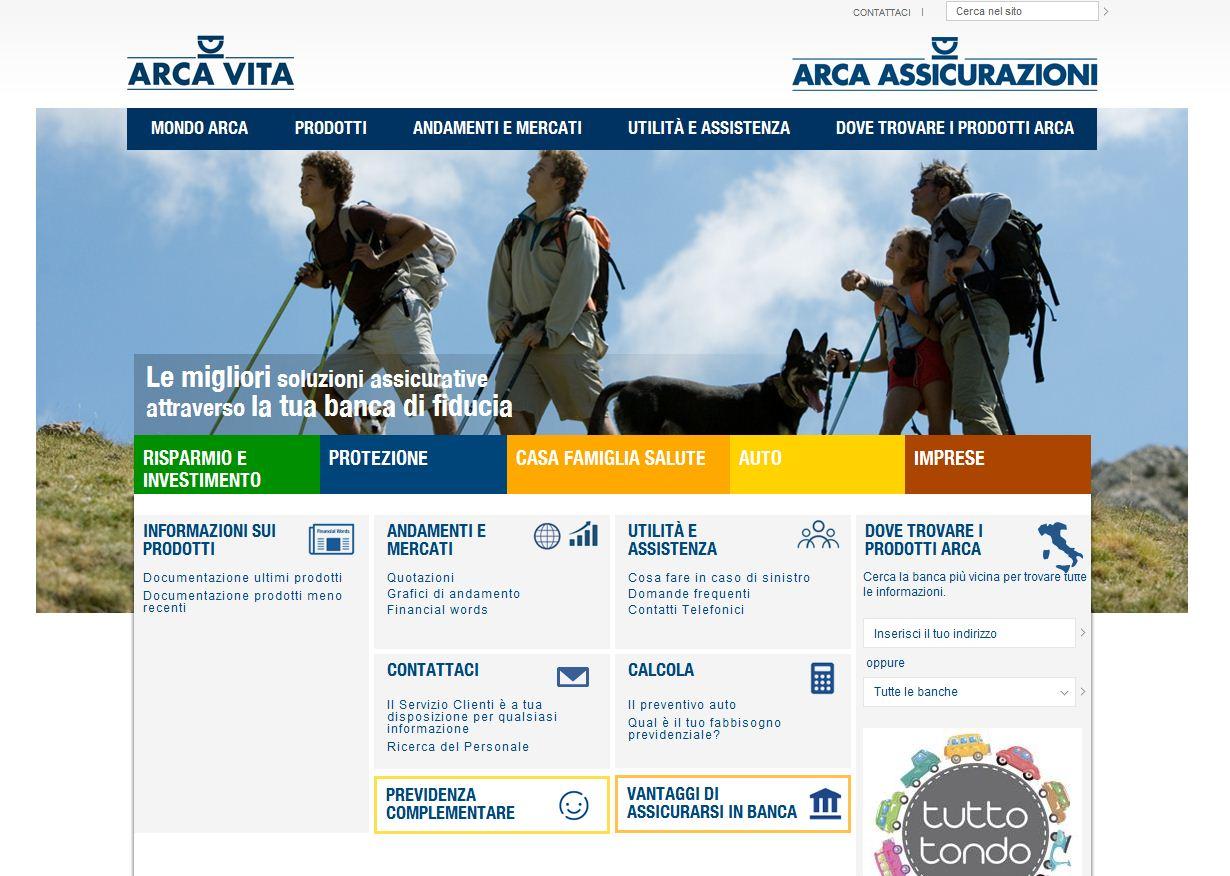 L'home page del sito di Arca Assicurazioni