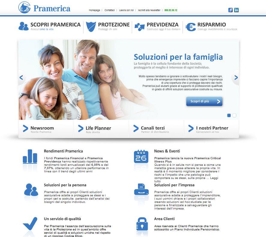 L'home page del sito di Pramerica Life Imc