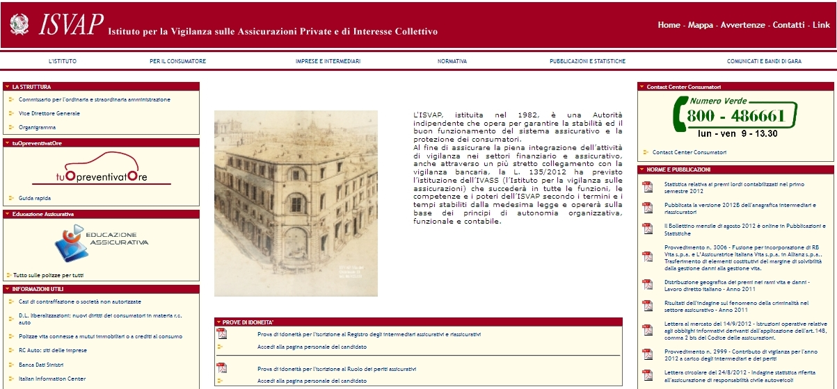 ISVAP - Homepage sito web Imc