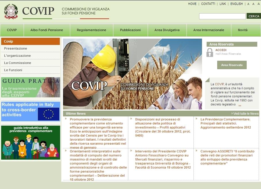 COVIP - Homepage Sito Web Imc