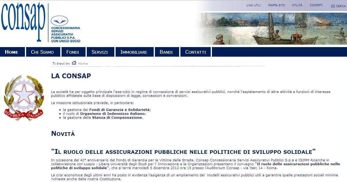 CONSAP - Homepage Sito Web Imc