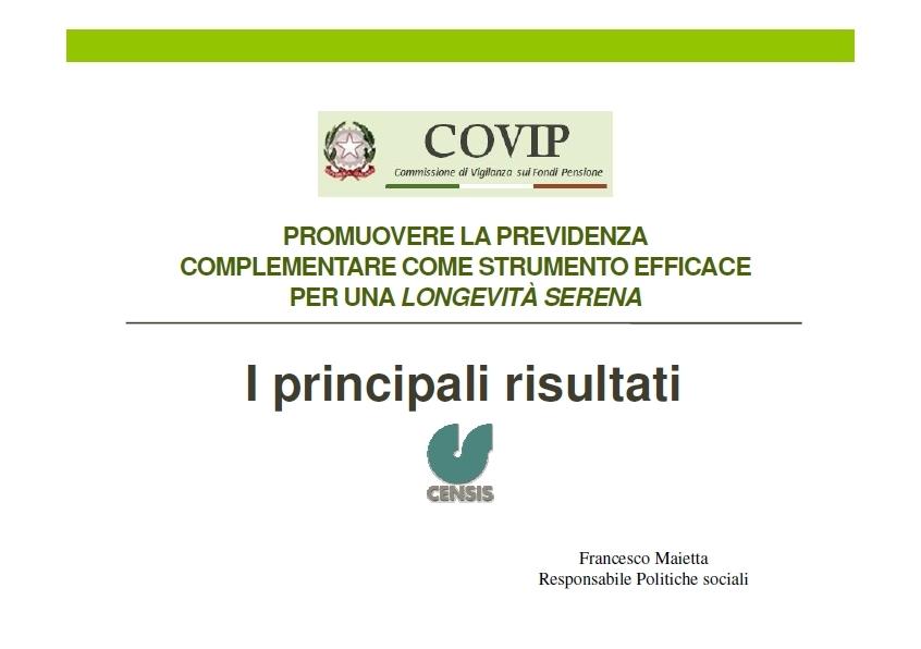 Convegno COVIP CENSIS Imc