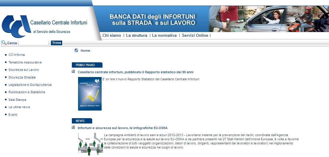 Inail - Casellario Centrale Infortuni - Homepage sito web Imc