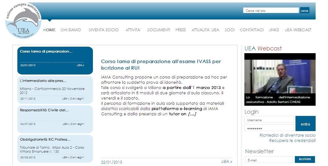 UEA - Homepage sito web Imc