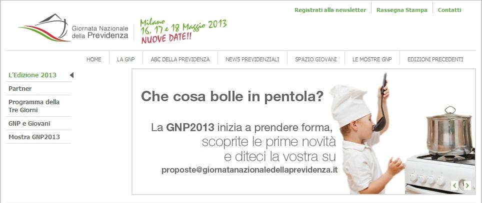 Giornata Nazionale Previdenza 2013 - Homepage sito web Imc