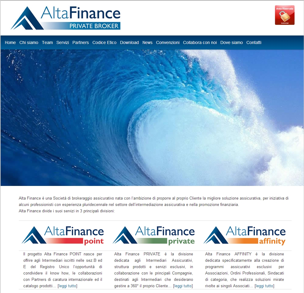 Alta Finance - Homepage sito web Imc