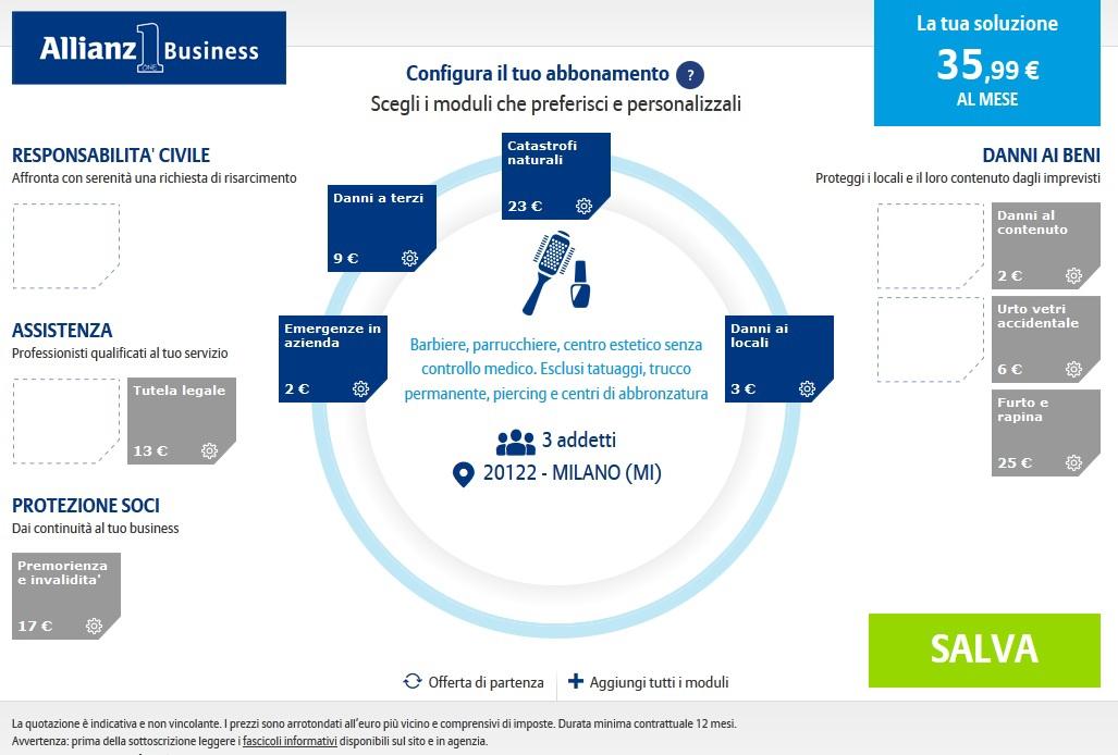 Allianz1 Business - Esempio preventivazione Imc