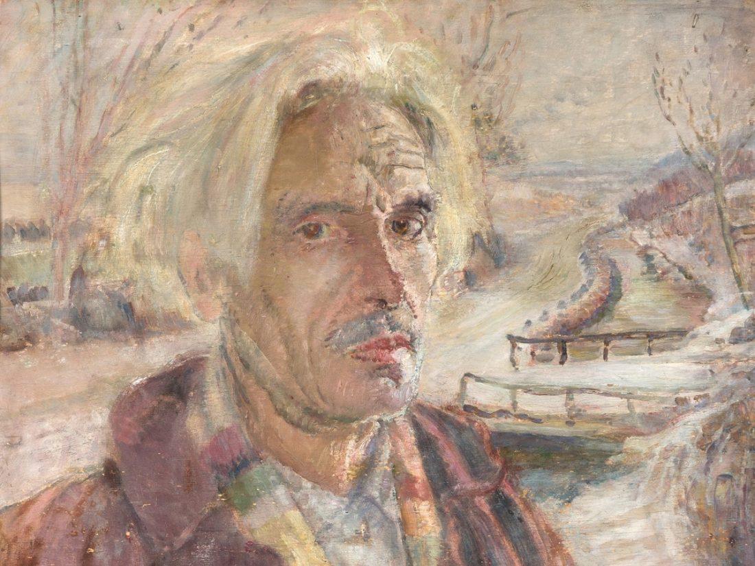 Domenico Buratti - Autoritratto con paesaggio invernale (1950) Imc