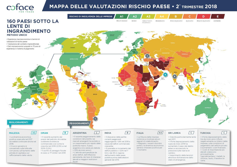 Coface - Mappa rischio paese - II Trimestre 2018 Imc