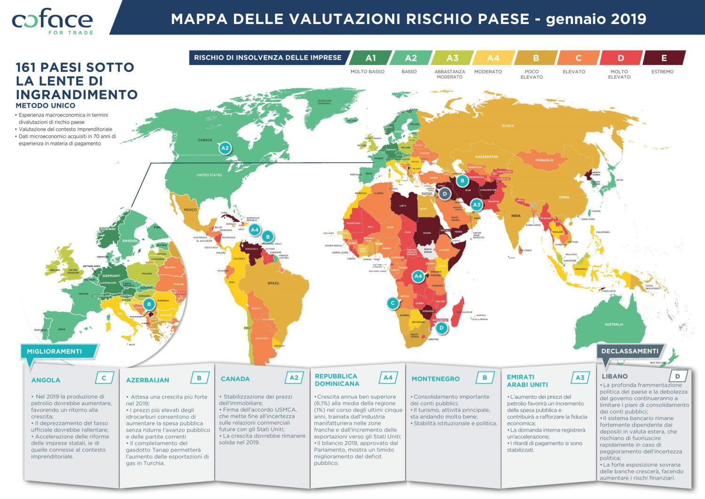 Coface - Mappa valutazioni rischio Paese - Gennaio 2019 Imc